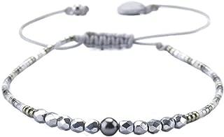 Beaded Friendship-Style Single Strand Bracelet with Adjustable Closure (Grey)