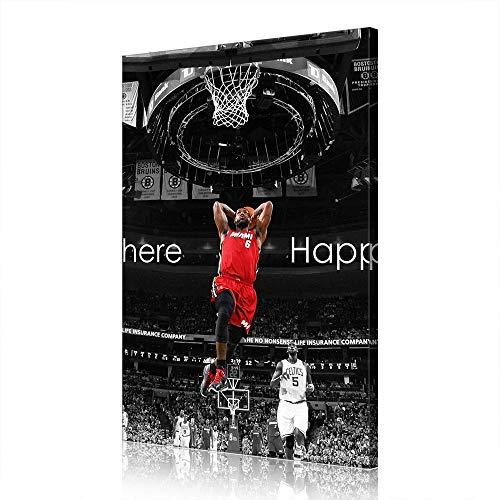 Cave Lebron James Cleveland Cavaliers Canvas Prints NBA Poster Immagine Opera Uomo (prints9,60x90cm)