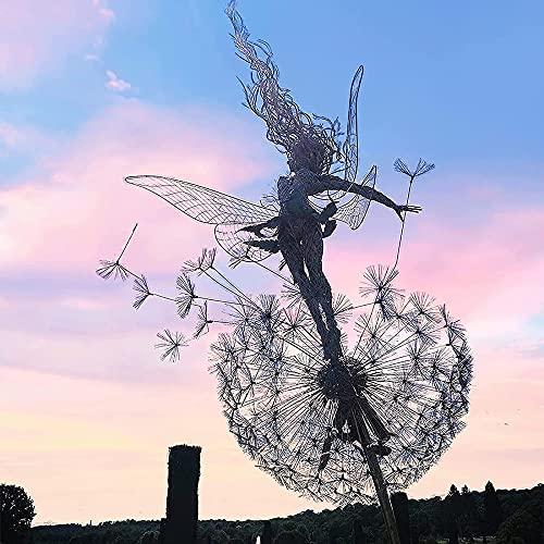 PLIENG Fées Et Pissenlits Dansent Ensemble - Fée Jardin Métal Cour Art Déco Fée Sculptures Danse avec Pissenlits Vent Catcher Cour Patio Décoration,A