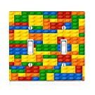"""Trendy Accessories Colorful Bricks Design Printed Image Double Light Switch Plate Size 4.75"""" x 4.75""""."""