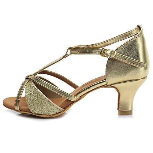 SWDZM - Chaussures de danse latine pour femme en satin D255 - Or - Talon de 5 cm de couleur dorée., 38 EU