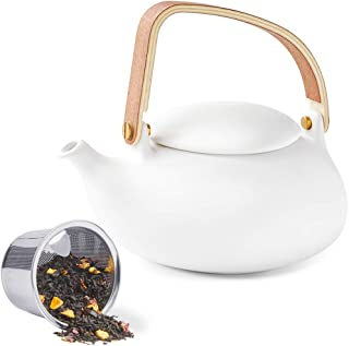 ZENS Teapot with Infuser,Ceramic Loose Leaf Tea Pots 27 Ounces, Modern Matte Porcelain Teapot White for Women Gift with Bentwood Handle, 800ML