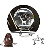 70mm/2.75' 3D Laser Crystal Ball with Christmas Deer and Snowflakes Figure for Home Decor Ornament