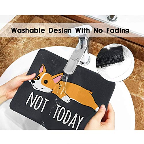 Not Today Corgi Mouse Pad Black Gaming Mouse Pad with Stitched Edges Non-Slip Rubber Base for Computer Laptop 8.3×10.3×0.12 inch Photo #6