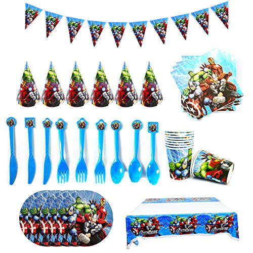 Avengers Cumpleaños Decoracion Desechables fiesta Cumpleaños Decoracion feliz Cumpleaños Decoraciones Suministros Regalos Carnaval Avengers Vajilla