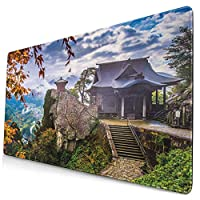 WOTAKA 大型 マウスパッド 日本の山寺山寺高さ崖スピリチュアルランド牧歌的な霧の田舎 個性的 おしゃれ 柔軟 かわいい ゲーミングマウスパッド PC ノートパソコン オフィス用 デスクマット 滑り止め 特大 マウスマット