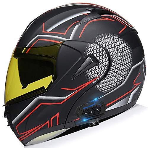 Integrale Casco Moto Bluetooth, Certificato DOT Caschi Integrali Moto, Doppia Visiera Parasole Caschi Scooter, Fodera Rimovibile E Lavabile, Con FM, Adatto Per (Maschio/Femmina)