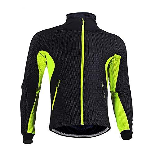 BeIM Herren Air Jacket Winddichte Fahrradjacke wasserdichte Fleece Warm Für Herbst und Winter, Grün 2XL