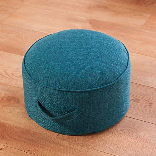 XIAOWEI Round meditation cushion linen beanbag ottoman with washable cover thickened yoga zafu floor cushion for living room bedroom blue 40x40x20cm