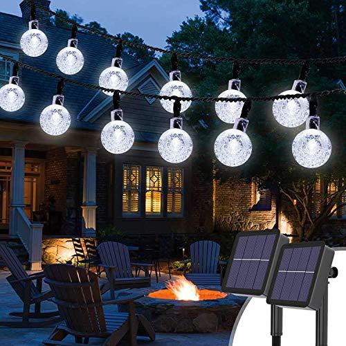 Guirnaldas Luces Exterior Solar [2 Pack], Kolpop 3M 30LED Cadena de Bola Cristal Luz, Guirnalda Solar LED Bola de Cristal Luces Decoracion para Navidad Terraza Hogar Jardín Arboles Patio, Blanco Frío