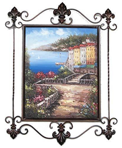 Obra original, pintura sobre lienzo 40 X 50 cm. y montada sobre hierro forjado. Cuadro Único para Decoración del Hogar Rústico y Moderno