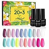 Anself 20 color Soak Off Gel Nail Polish Set + Capa Base + Capa Superior + Capa Superior Mate Juego de Esmalte de Gel de Manicura Geles