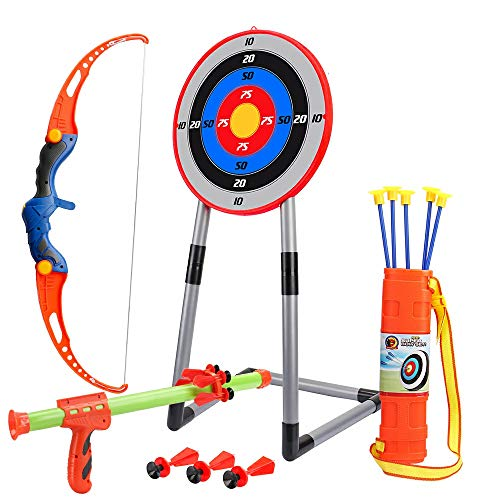 OWNONE 1 Kids Bow and Arrow for Boys & Girls, 2 in 1 Toy Archery Set for Backyard & Outdoor with Stand Target, Quiver and 5 Suction Cup Arrows
