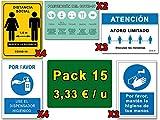 Señalización COVID | Pack Deluxe 15 Señales Coronavirus | 4 Distancia, 4 Dispensador, 3 Aforo, 2 Higiene Manos, 2 Pautas | Carteles Autoinstalables | 21 x 30 cm | Descuentos Cantidad