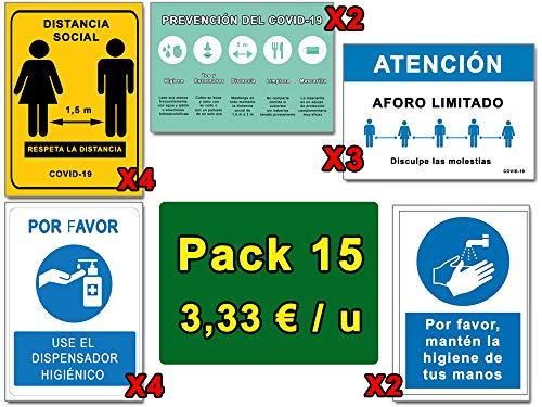 Segnalazione COVID | Pack Deluxe 15 Segnali Coronavirus | 4 Distanza, 4 Dispenser, 3 Aforo, 2 Igiene Mani, 2 Paute | Cartelli Autoinstallabili | 21 x 30 cm | Sconti quantità