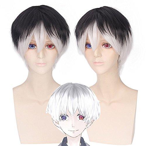 Short Men Wig Tokyo Ghoul Sasaki Haise Black White Hair Cosplay