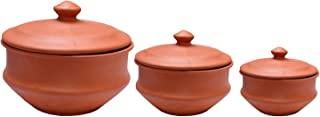 Plain HAANDI Set : Earthen Unglazed Cooking Haandi for Rice, Curry, Dal & Yogurt/Curd (Set of 3 Piece - 2 LTR, 1 LTR & 800 ML)