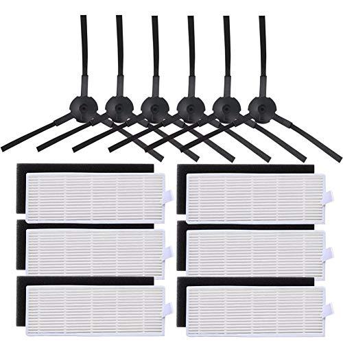 L-Yune, 6X Filtro HEPA y 6xSponge 6X Filtros y Cepillo Lateral for aspiradoras de Polvo Limpieza del Filtro Cepillo reemplazos for Ilife A8 A4 A6 A4S