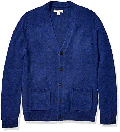 Amazon Brand - Goodthreads Men's Supersoft Marled Cardigan Sweater, Bright Blue Medium