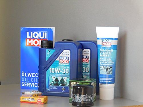 MotorFunSports Juego de mantenimiento para motor fueraborda BF15 A, aceite, bujía, aceite de engranaje, filtro de aceite