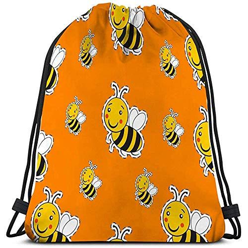 Trekkoord Tas Voor Gym Rugzak Schoudertassen Sport Opbergtas patroon schattig gestreepte kleine hommel honing logo gelukkige glimlach