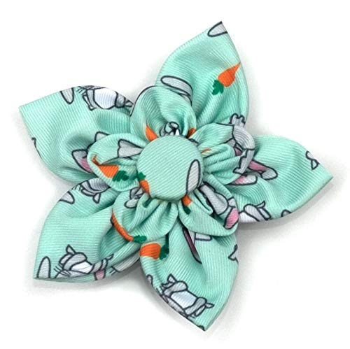 The Worthy Dog Bunnies and Carrots Kawaii Pattern Fashionable Flower Collar Accessory for Pet Dogs, with Easy Release Touch Fastener Strip - Fits Small, Medium and Large Dogs, Mint Green Color