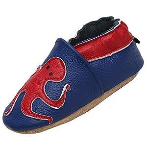 Unisex Bebé Zapatos Suave Antideslizante Niñas Primeros Pasos Zapatillas Antideslizante Elásticos Zapatos de Bebé Cómodos, Calamar Azul 12-18 Meses