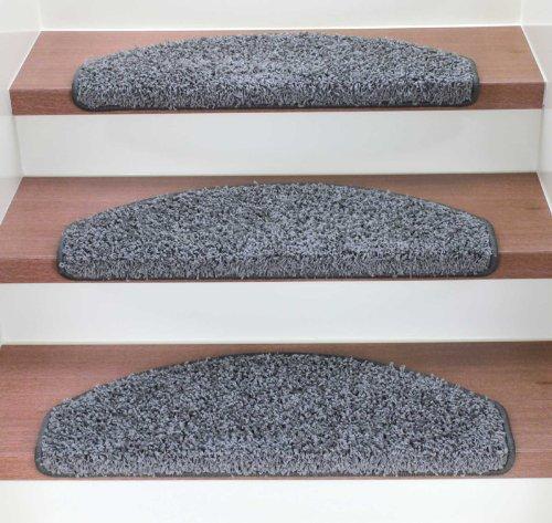 Kettelservice-Metzker Stufenmatten Treppenmatten Shaggy - Halbrund 10 Aktuelle Farben im SparSet 15 Stck. (Grau)