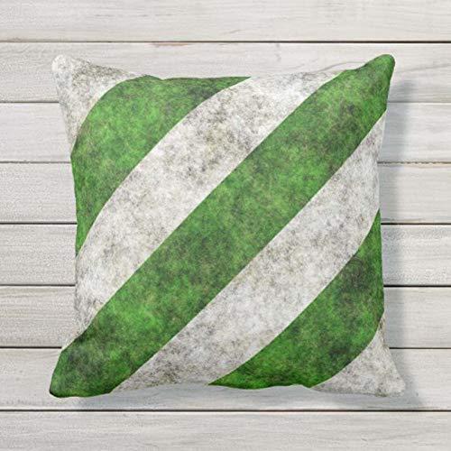 Federa in cotone con cerniera standard quadrata dimensioni standard verde e bianco a righe diagonali 55,5 x 62,5 cm, federa per cuscino quadrato per casa e ufficio