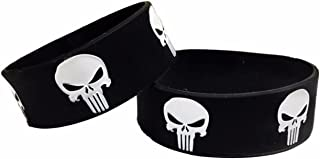 Marvel's The Punisher Skull Logo Repeat Silicone Bracelet Set of 2 WRISTBANDS