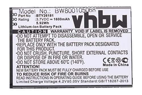 vhbw Li-Ion Akku 1600mAh (3.7V) für Smartphone, Telefon, Handy Elson Mobistel Cynus F3, MT-7511, MT-7511S, MT-7511W wie BTY26181, BTY26181MOBISTEL/STD