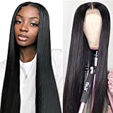 Straight Lace Front Wigs Human Hair for Black Women Brazilian Virgin Hair Straight Lace Frontal Wigs Pre Plucked with Baby Hair Natural Color (24 Inch,150% Density)