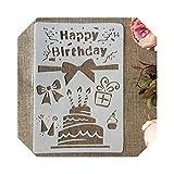beautiful-items-25 26cm Happy Birthday Cake DIY Craft Layering Stencils Painting Scrapbooking Stamping Embossing Album Paper Card Template