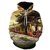 Abandoned Train Station Platform Hoodie Sudadera Unisex Hip-Hop Pareja impresión Digital 3D Adecuada para Deportes en casa al Aire Libre Suave, cómodo y Transpirable Color_120