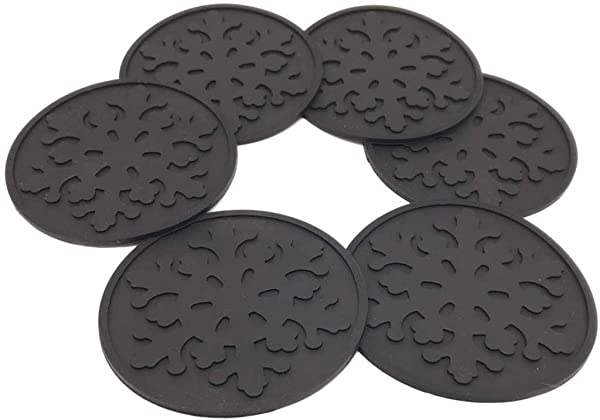 Chuanhai Drink Coasters Set Of 6 Round Black BPA Free Heat Resistant Reusable Silicone For Cup Mug Or Glasses To Protect Tabletop From Water Marks Scratch And Damage