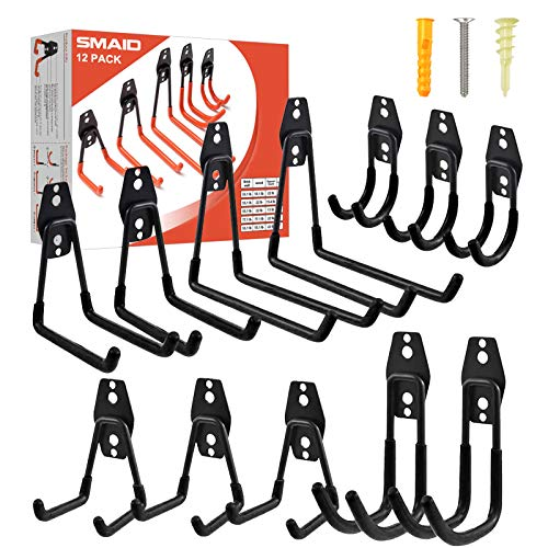 Garage Hooks 12 Pack Heavy Duty Garage Storage Hooks Steel Tool Hangers for Garage Wall Mount Utility Hooks and Hangers with Anti-Slip Coating for Garden Tools Organizer Ladders Bikes Bulky Items