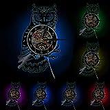 wwwff Eagle Owl Disque Vinyle Horloge Hibou Décoratif Horloge Murale Night Owl Mur Art Horloge Pépinière Kid Chambre Décor Animal Cadeau pour Enfants
