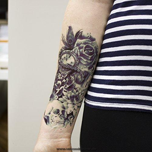1 x ARM TATTOO SCHWARZ bis DUNKEL BLAU Temporäres Tattoo zum Kleben Totenkopf mit Lotus Rosen Blumen für Arm Körper Rücken Bein Z039 Wasserdicht (1)