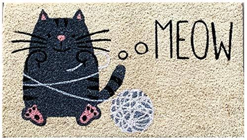 Felpudo de entrada casa coco con base de PVC pintado a mano Gato Negro con Ovillo de lana 70x40x2 cm. Fácil de limpiar y ultra resistente