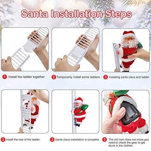Santa Claus Climbing Ladder, Topwey Electric Singing Up and Down Santa Claus Ornaments for Christmas Tree, Santa Claus Doll Toy for Indoor Outdoor Xmas Christmas Decoration (Red 2)