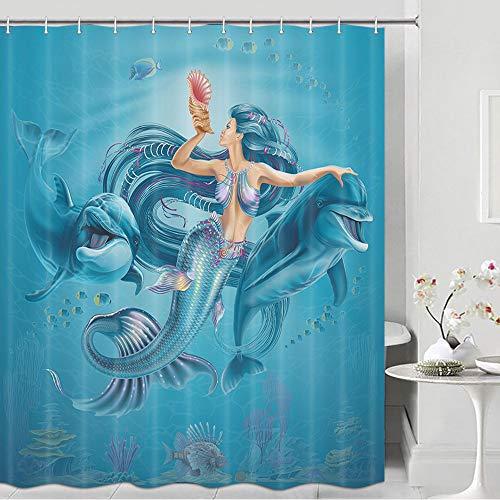 Mermaid & Dolphin Shower Curtain