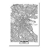 ZWXDMY Leinwand Bild,Irland Dublin Stadtplan Drucken