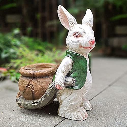 Tuin Standbeeld Waterdichte Lamp Tuin Ornament Tuin Ornament, Creatieve Bunny Bloempot Decoratie, Waterdicht Hars Konijn Bloempot Voor Yard Gazon Decoraties (A), Standbeelden