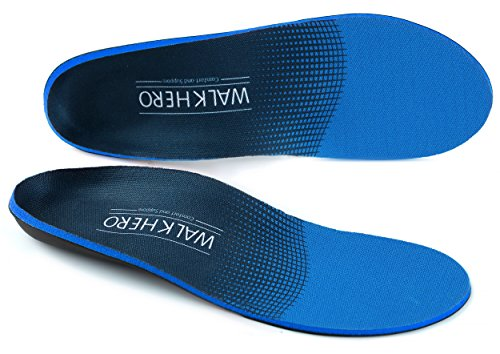 WALK·HERO COMFORT AND SUPPORT lantar Fasciitis Feet Insoles Arch Supports Orthotics Inserts Relieve Flat Feet, High Arch, Foot Pain Mens 6-6 1/2 | Womens 8-8 1/2 - Free Return Blue