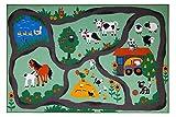 andiamo Alfombra de niños la Granja, Alfombra de Juego con Motivos de Granja (133 x 190 cm, Bunt)