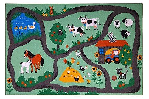 andiamo Straßenteppich Farm, Kinderteppich Bauernhof, schadstoffgeprüft, Farbe:Bunt, Größe:160 x 230 cm