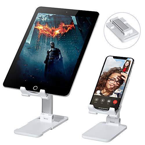 Cell Phone Stand, VersionTECH. Adjustable Foldable Tablets Holder Dock for Desktop Desk Office Compatible with iPhone 11 Pro Xs Xs Max Xr X 8 7 6 6s Plus iPad, All Smartphones,Nintendo Switch -White