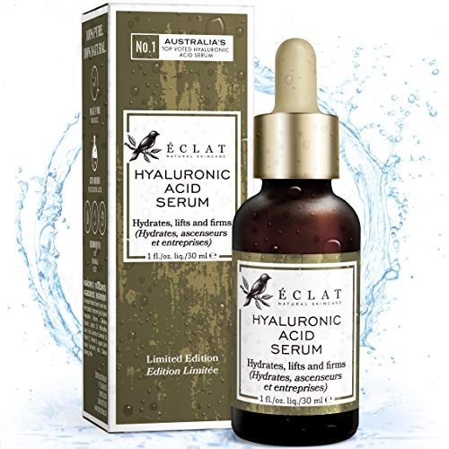 Organic Hyaluronic Acid Serum - Patented Cold Processed Serum with 2% Low, Medium & High Molecular Weight Hyaluronic Acid + 10 Antioxidants - 100% Vegan - Dermatologist Developed