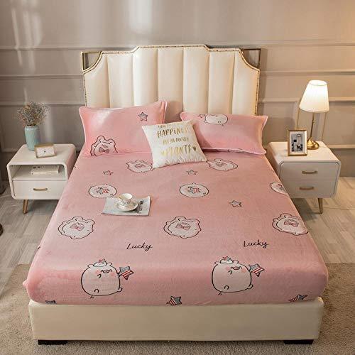 LCFCYY Spannbettlaken,Dicker und Warmer Kristall-Samt-Matratzenbezug, Matratzenauflage mit Cartoon-Druck, geeignet für Kinderzimmer-U_120 * 200 cm