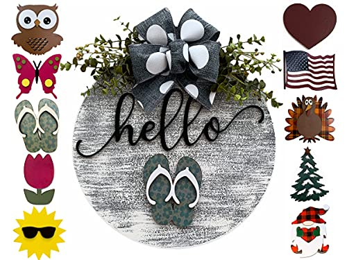 Holiday Wreath for Front Door Year Round Hanger Welcome Bow Sign + Interchangeable Season Piece 14
